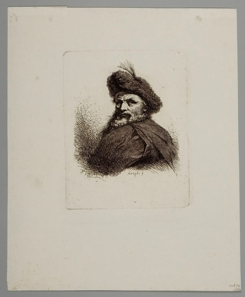 Bust Of A Man With Feathers In His Cap