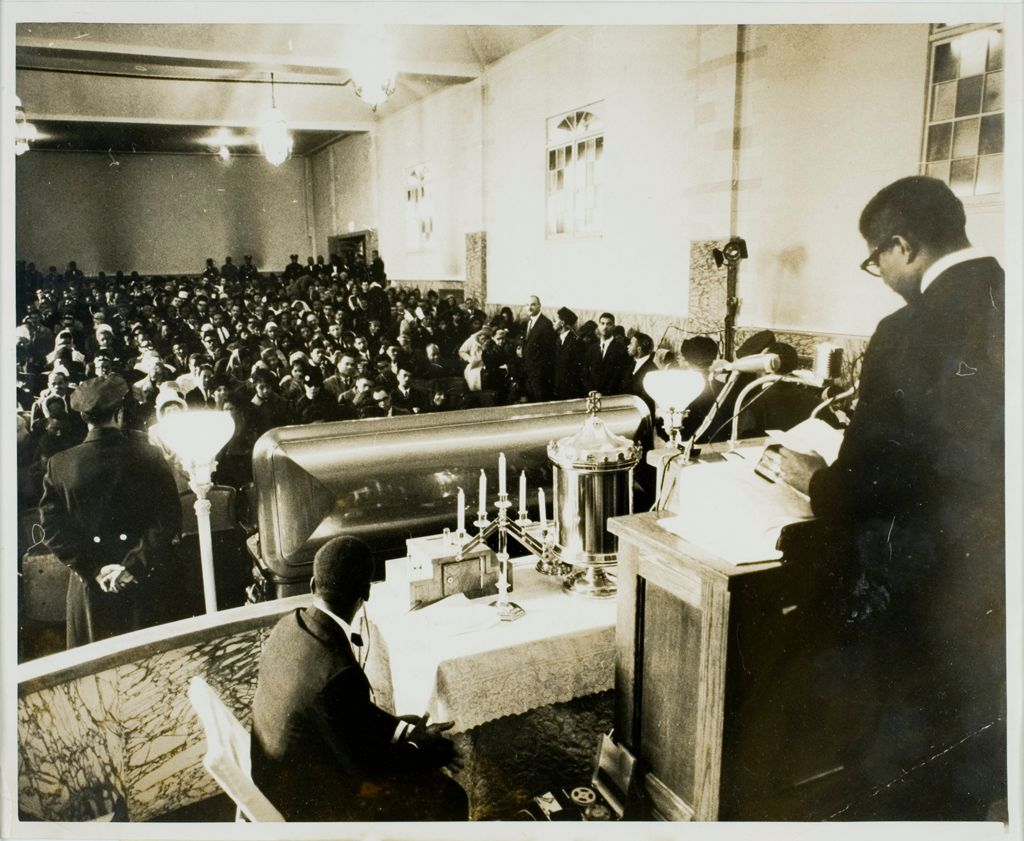 Actor Speaks At Malcolm's Funeral: New York: Negro Actor-Playwright Ossie Davis Speaks To Crowd Of Some 1,000 Persons Attending Funeral For Slain Negro Extremist Malcolm X At The Faith Temple, Church Of God In Christ, February 27Th.  Davis Praised Malcolm As A