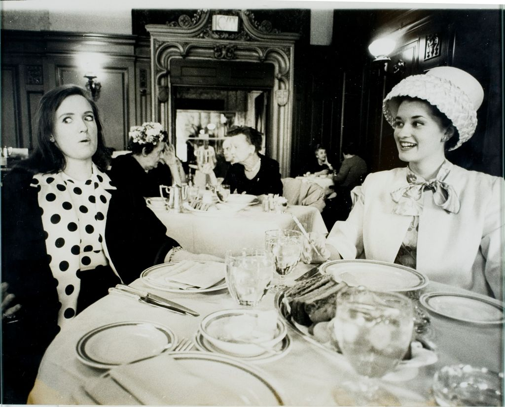 Star's Daughter (Sixth Of Eleven): Monika (Left) Lunches With Bette Davis' Daughter, Mrs. Jeremy Hyman, At The Plaza Hotel.  Bette Davis, Who Co-Starred With Paul Henreid In