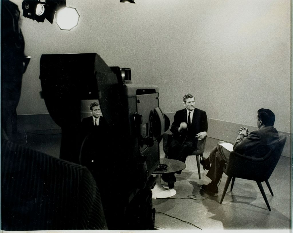 Young Man In A Hurry (Seventh Of Twelve): Television Is A Potent Weapon In Modern Political Campaigns, And John Lindsay Makes Full Use Of The Medium.  Here, Lindsay Tapes An Interview With Cbs Reporter Mike Wallace, Known To Be A Tough Man With The Questions.  Lindsay Holds His Own, And Tries To Bring Out His Own Ideas.