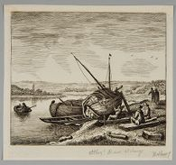 Fisherman Reparing his Boat on the Bank of a River