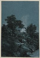 View from Hillside, Covered Wagon on Road, Woman by a Pond