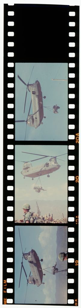Untitled (Chinook Helicopter Transporting Artillery, Vietnam)