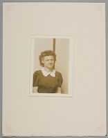 Untitled (Woman Seated, Half-Length, Striped Background)