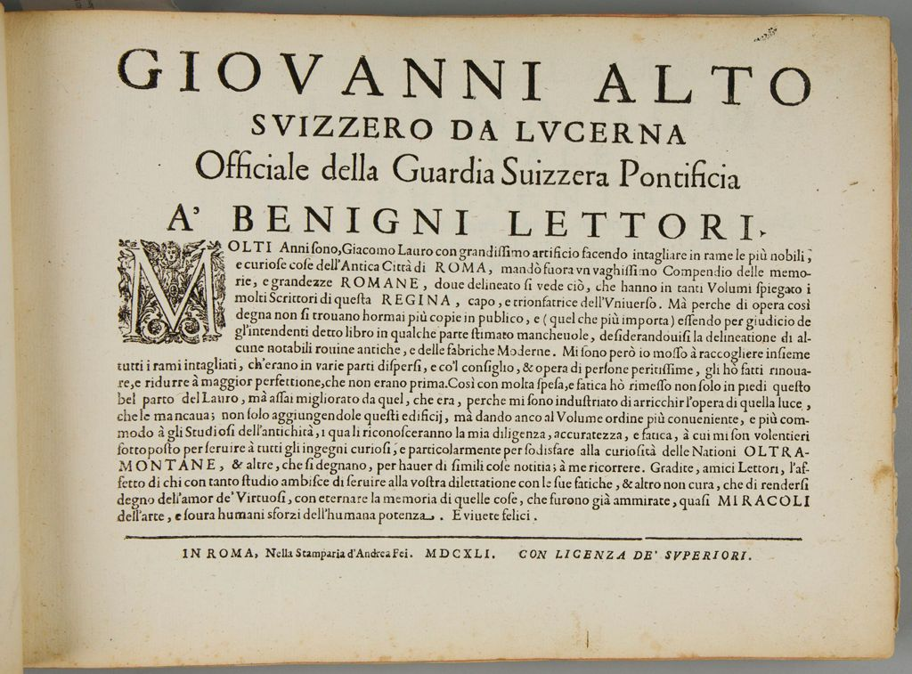 Forward By Giovanni Alto Of Lucerne, Switzerland, Official Of The Swiss Guard
