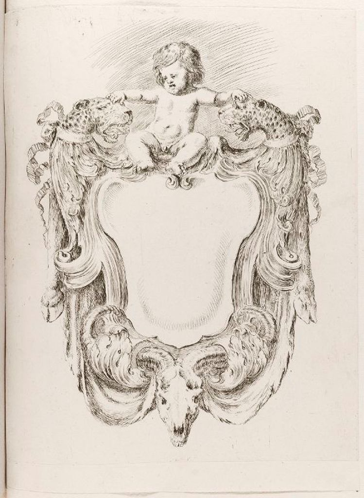 Titlepage: Cartouche With Putto And Two Leopards