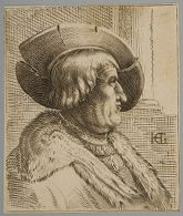 Fantasy Portrait  of an Old Man with a Hat in Profile