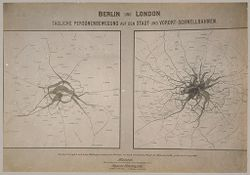 Social Conditions, General: Germany. Berlin. Density of Traffic; Great Britain, England. London. Density of Traffic: Social Conditions, Europe: Density of traffic in Berlin and London.  Traffic in London is shown to be evenly distributed - that of Berlin is congested..   Social Museum Collection