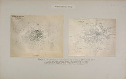 Social Conditions, General: France. Paris. Density of Population; Great Britain, England. London. Density of Population: Social Conditions, Europe: Density and Spread of Population in Paris and London - 1906.: 1 dot per 1000 inhabitants - the population of London is shown to be more evenly distributed - photographs of maps displayed at the Berliner Städtebau Ausstellung..   Social Museum Collection