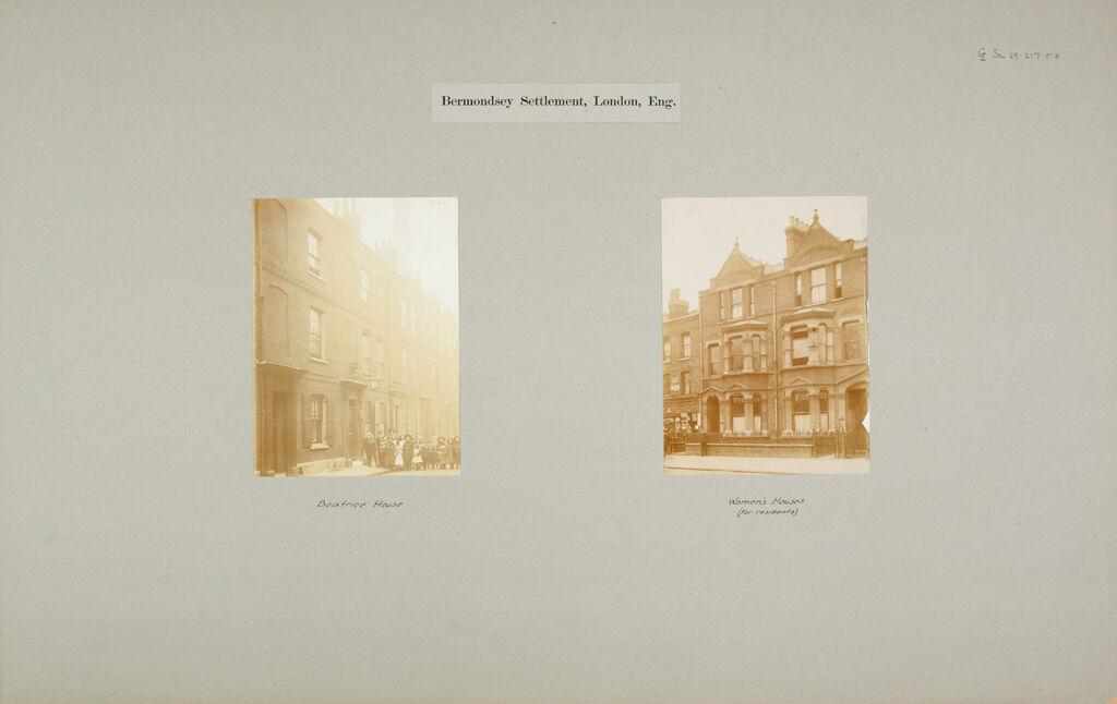 Social Settlements: Great Britain, England. London. Bermondsey Settlement: Bermondsey Settlement, London, Eng.