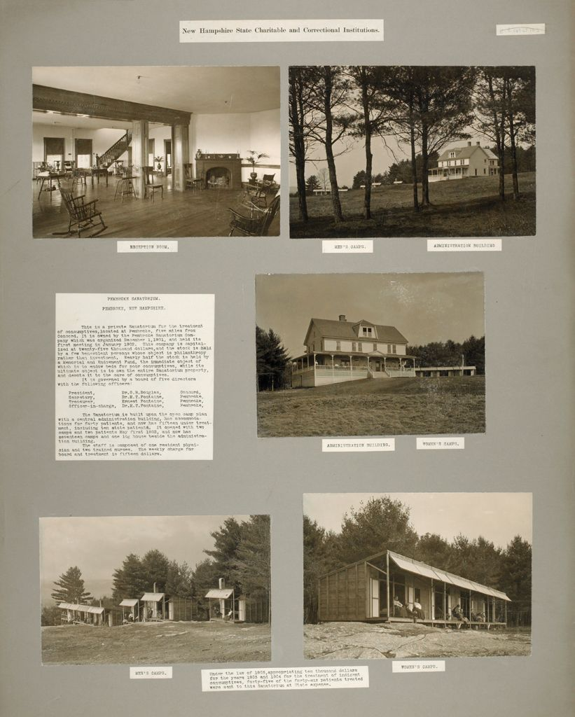 Charity, Tuberculosis: United States. New Hampshire. Pembroke. Pembroke Sanatorium: New Hampshire State Charitable And Correntional Institutions.