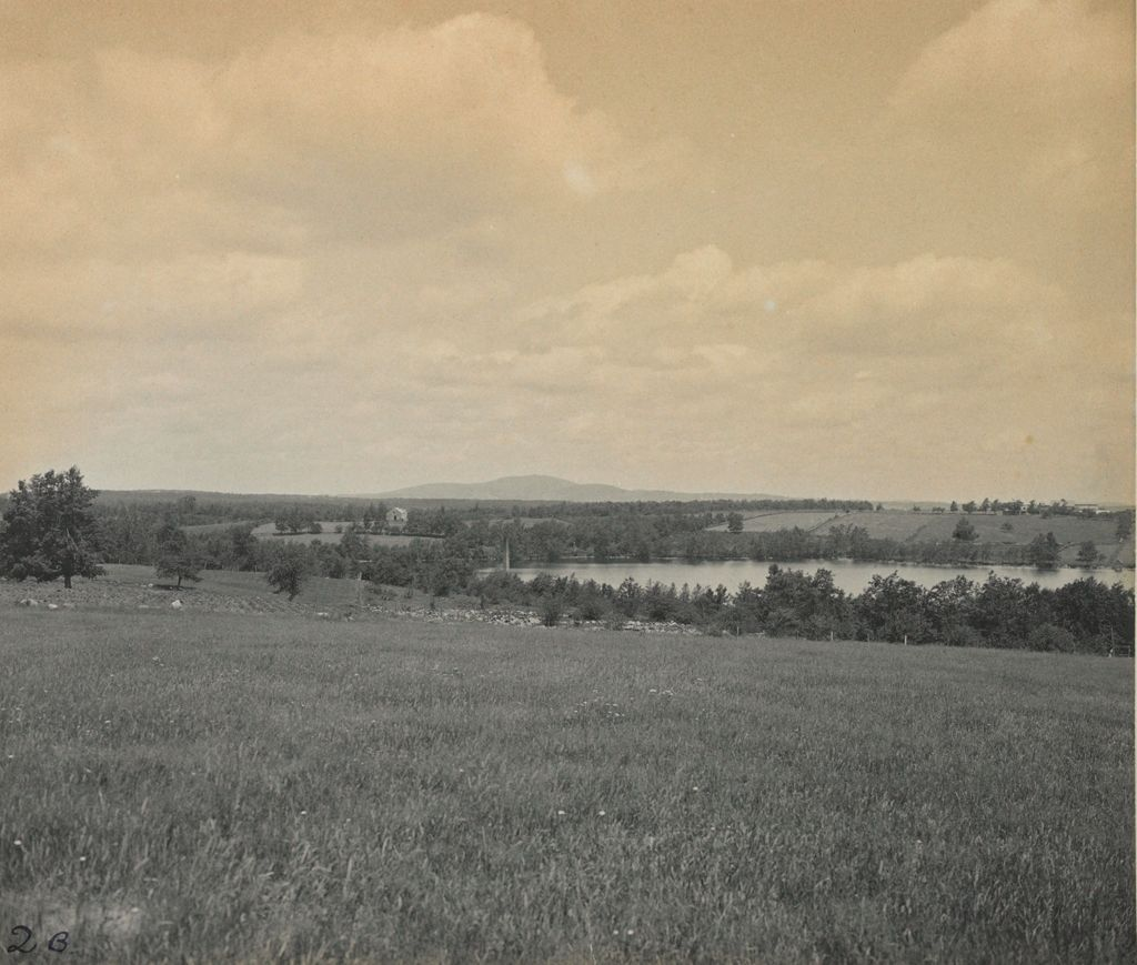Charity, Tuberculosis: United States. Massachusetts. Rutland. Massachusetts State Sanatorium: Massachusetts State Sanatorium: View Of Lake Muschopauge And Mt. Wachusett From Avenue Approaching Buildings