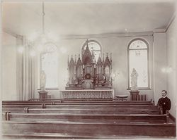 Crime, Prisons: United States. New York. New York City. The Tombs: Department of Correction, New York City: City Prison (The Tombs) Manhattan.: Catholic Chapel..   Social Museum Collection
