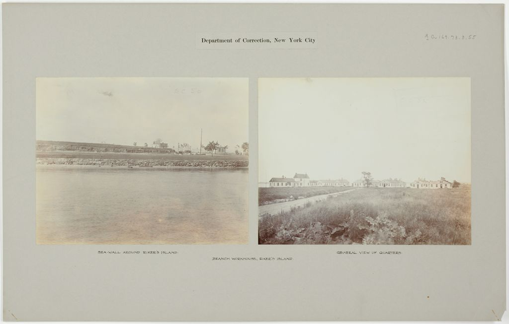 Crime, Prisons: United States. New York. Riker's Island. Branch Workhouse: Department Of Correction, New York City: Branch Workhouse, Riker's Island.