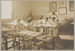 Education, Industrial: Italy. Florence. Arts and Crafts School: Social Conditions in Florence, Italy, 1903: Arts and Crafts, Class for finest embroideries..   Social Museum Collection