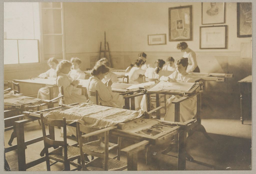 Education, Industrial: Italy. Florence. Arts And Crafts School: Social Conditions In Florence, Italy, 1903: Arts And Crafts, Class For Finest Embroideries.