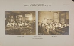 Education, Industrial: United States. New York. New York City. Vacation Schools:New York City Public Schools. Examples of the Adaptation of Education to Special City Needs: Vacation Schools: Public School No.32 Brooklyn.   Social Museum Collection