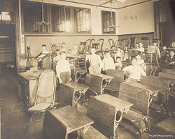 Education, Industrial: United States. New York. New York City. Vacation Schools: New York City Public Schools. Examples of the Adaptation of Education to Special City Needs: Public School No. 147 Manhattan.: Vacation School - Chair Caning..   Social Museum Collection