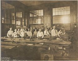 Education, Industrial: United States. New York. New York City. Vacation Schools:New York City Public Schools. Examples of the Adaptation of Education to Special City Needs: Vacation Schools: Public School No.32 Brooklyn: Carpenter Shop..   Social Museum Collection