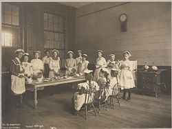 Education, Industrial: United States. New York. New York City. Vacation Schools: New York City Public Schools. Examples of the Adaptation of Education to Special City Needs: Vacation Schools. Public School No.32 Brooklyn.: Kitchen Work..   Social Museum Collection