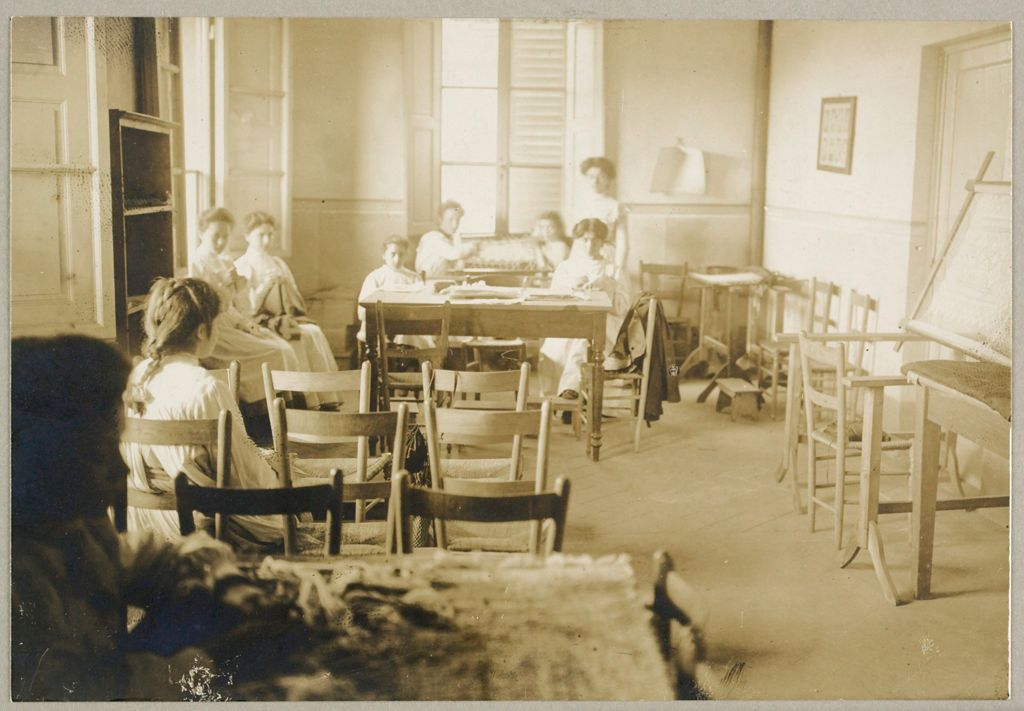 Education, Industrial: Italy. Florence. Arts And Crafts School: Social Conditions In Florence, Italy, 1903: Arts And Crafts - Embroidery Class.