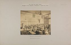 Education, Industrial: United States. New York. New York City. Public Schools, Adaptation to Special City Needs: New York City Public Schools. Examples of the Adaptation of Education to Special City Needs: Sewing and Mending Lesson.: Public School No.170 Manhattan..   Social Museum Collection