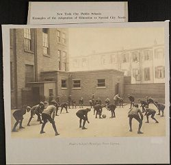 Education, Popular Culture: United States. New York. New York City. Public Schools, Adaptation to Special City Needs. New York City Public Schools: Examples of the Adaptation of Education to Special City Needs: Public School - Brooklyn. Noon Games..   Social Museum Collection