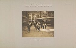 Education, Popular Culture: United States. New York. New York City: Public Schools, Adaptation to Special City Needs: New York City Public Schools: Examples of the Adaptation of Education to Special City Needs: Yard 3A Boys Tossing the Ball. Public School No. 44 Manhattan..   Social Museum Collection