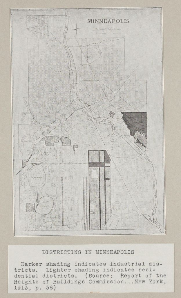 Government, City: United States: Heights Of Buildings: Districting In Minneapolis: Darker Shading Indicates Industrial Districts. Lighter Shading Indicates Residential Districts. (Source: Report Of The Heights Of Buildings Commission...new York, 1913, P.38).