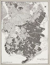 Government, City: United States. New York. New York City: Heights of Buildings, New York City: Unimproved property in outlying parts of New York City. Black represents vacant land. By means of special laws governing districting of such areas the municipality may keep this land from being used in ways detrimental to public interest. (Source: Report of the Heights of Buildings Commission...New York, 1913.).   Social Museum Collection