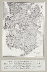 Government, City: United States. New York. New York City: Heights of Buildings,: Prevailing percentages of lot area covered by building in Brooklyn. Numerals indicate percentage covered. (Source: Report of Heights of Buildings Commission...New York, 1913, p.69.).   Social Museum Collection