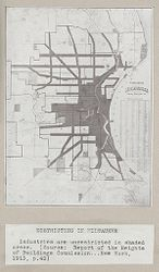 Government, City: United States: Heights of Buildings: Districting in Milwaukee: Industries are unrestricted in shaded areas. (Source: Report of the Heights of Buildings Commission...New York, 1913, p.40).   Social Museum Collection