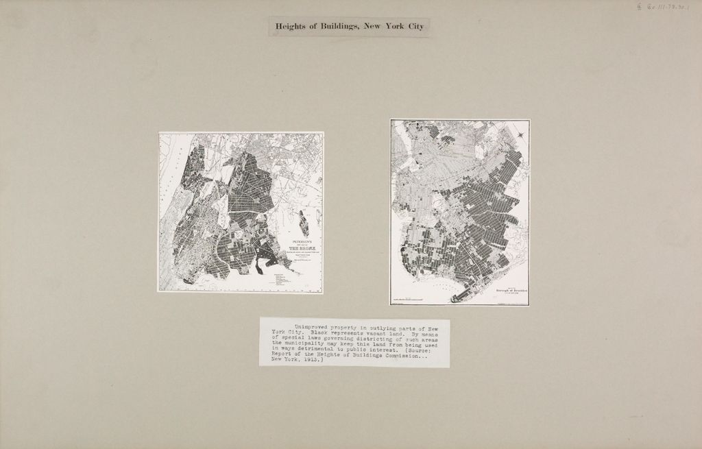 Government, City: United States. New York. New York City: Heights Of Buildings, New York City: Unimproved Property In Outlying Parts Of New York City. Black Represents Vacant Land. By Means Of Special Laws Governing Districting Of Such Areas The Municipality May Keep This Land From Being Used In Ways Detrimental To Public Interest. (Source: Report Of The Heights Of Buildings Commission...new York, 1913.)