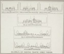 Government, City: United States. Massachusetts. Boston: Street Planning, Boston: Examples of existing traffic street widths.   Social Museum Collection