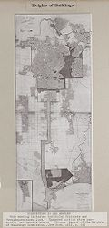 Government, City: United States: Heights of Buildings: Districting in Los Angeles: Dark shading indicates industrial districts and residence exceptions. Unshaded portion above pan-handle, residence district. (Source: Report of the Heights of Buildings Commission...New York, 1913, p.44.).   Social Museum Collection