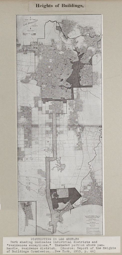 Government, City: United States: Heights Of Buildings: Districting In Los Angeles: Dark Shading Indicates Industrial Districts And Residence Exceptions. Unshaded Portion Above Pan-Handle, Residence District. (Source: Report Of The Heights Of Buildings Commission...new York, 1913, P.44.)