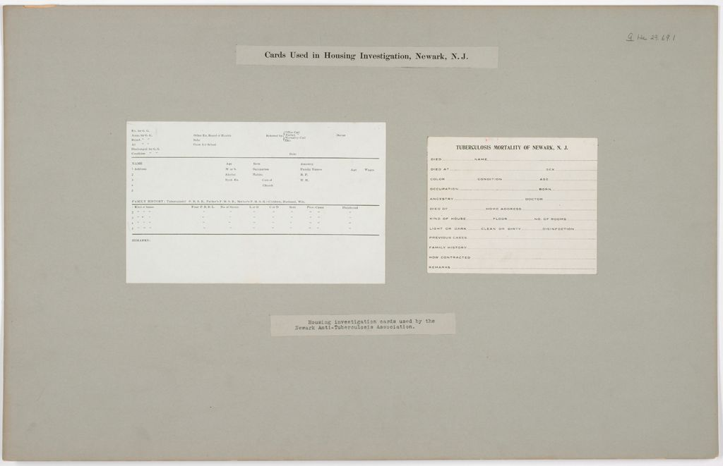 Health, General: United States. New Jersey. Newark: Cards Used In Housing Investigation, Newark, N.j.: Housing Investigation Cards Used By The Newark Anti-Tuberculosis Association.