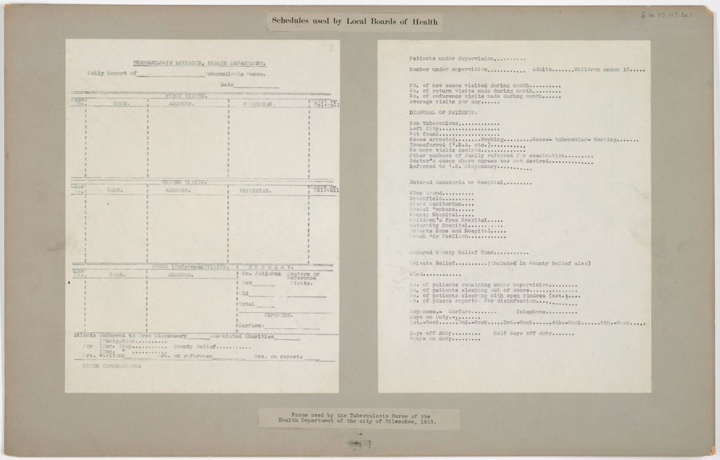 Health, General: United States. Wisconsin. Milwaukee: Schedules Used By Local Boards Of Health: Forms Used By The Tuberculosis Hurse Of The Health Department Of The City Of Milwaukee, 1913