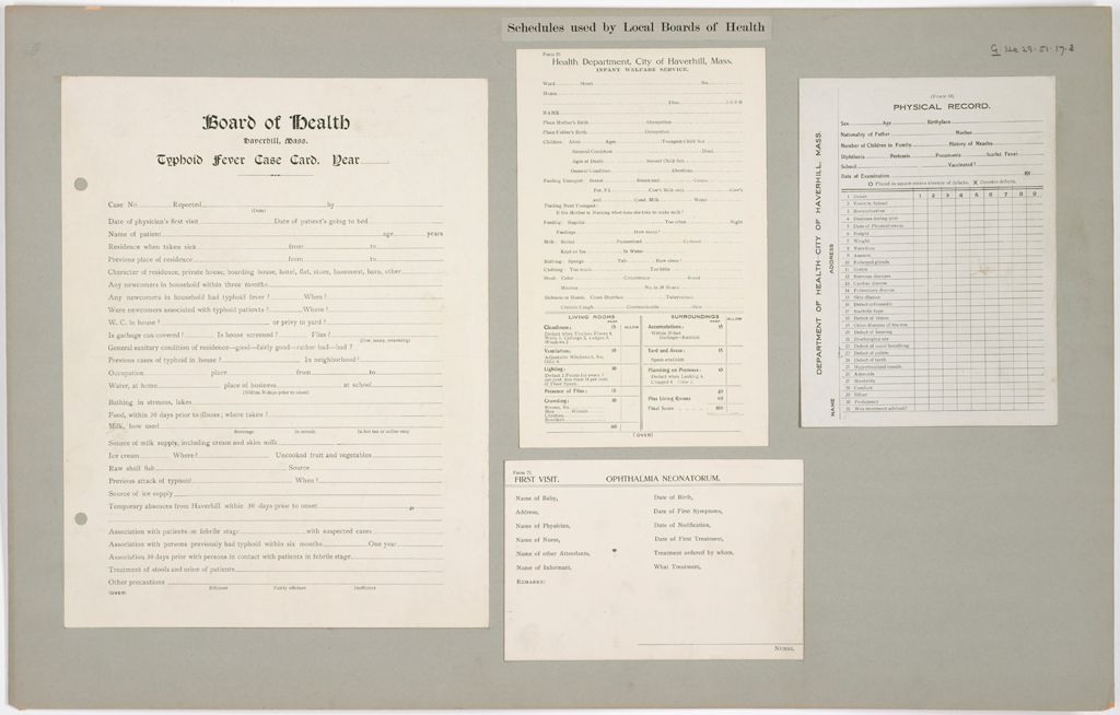 Health, General: United States. Massachusetts. Haverhill: Schedules Used By Local Boards Of Health