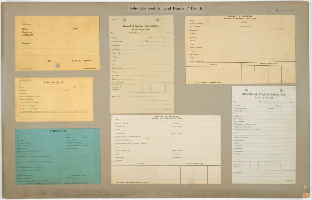 Health, General: United States. Massachusetts. Brookline: Schedules Used By Local Boards Of Health