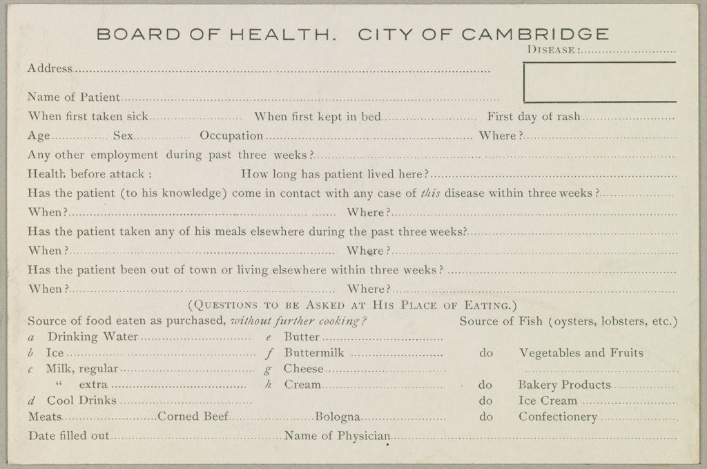Health, General: United States. Massachusetts. Cambridge: Schedules Used By Local Boards Of Health: Board Of Health. City Of Cambridge