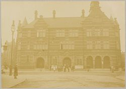 Health, Baths: Great Britain, England. London. St. Pancras: Prince of Wales Baths: This bath has a branch library and a public wash-house: Saint Paneras- Prince of Wales baths, front view showing public hall.   Social Museum Collection