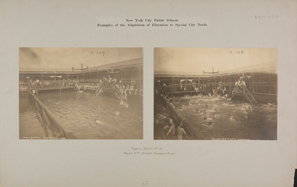 Health, Baths: United States. New York. New York City. Public Bath No. 10: New York City Public Schools. Examples Of The Adaptation Of Education To Special City Needs: Public Bath No. 10. West 51St Street. Hudson River.