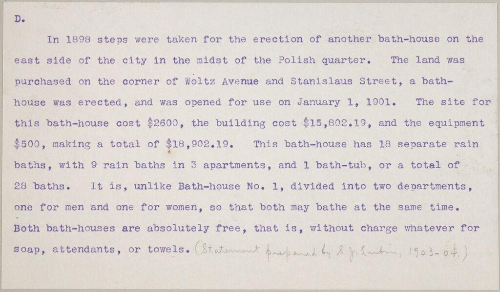 Health, Baths: United States. New York. Buffalo. Free Public Baths: Public Baths In The United States: D. Public Bath No. 2 - Buffalo.