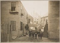 Housing, Conditions: United States. Massachusetts. Lowell. Tenements In French, Greek, And Polish Districts: Environment After Immigration. Perpetuation Of European Standards In America. Housing Conditions, Lowell, Mass.: Back Of The Greek Church: Tenements Occupied By Greeks.