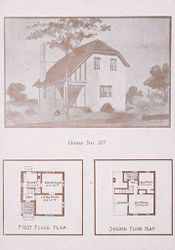 Housing, Industrial: United States. Ohio. Goodyear Heights: Industrial Housing, Cottages: Goodyear Tire and Rubber Company: Houses erected at Goodyear Heights to be sold to employees of the Goodyear Tire and Rubber Company, 1913-1915.: House No. 377.   Social Museum Collection