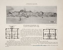 Housing, Industrial: United States. New York. New York City: Row Dwellings: Standard Buildings, Inc.: Workingmen's Cottages in the English Style - Design No. 370: Standard Buildings, Inc. 70 East 45th Street, New York.   Social Museum Collection