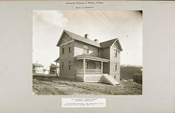 Housing, Industrial: United States. Pennsylvania. Marianna: Industrial Housing in Mining Villages. Brick Construction: The Pittsburgh - Buffalo Company, Marianna, Pennsylvania: 6-room brick dwelling..   Social Museum Collection