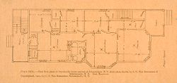 Housing, Industrial: United States. New York. Schenectady: Methods of Cheap Construction of Dwellings: Two-flat Houses: First Floor.   Social Museum Collection