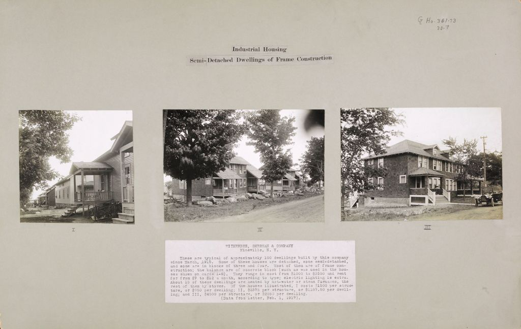 Housing, Industrial: United States. New York. Mineville: Industrial Housing. Semi-Detached Dwellings Of Frame Construction: Witherbee, Sherman & Company, Mineville, N.y.